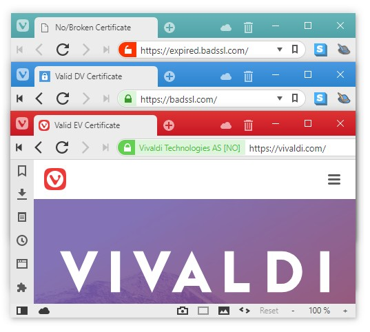 Screencap showing different certification icons in vivaldi