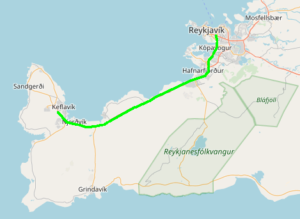 Map showing keflavik in relation to Reykjavik