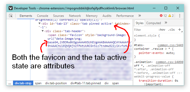 Displaying an individual tab in the browser inspector