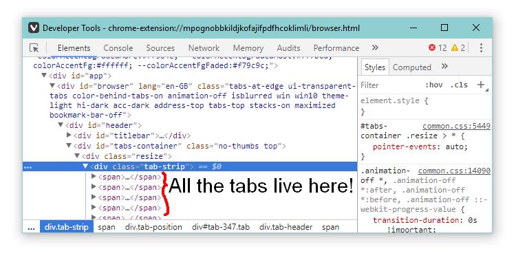 Tabs as seen in browser inspector