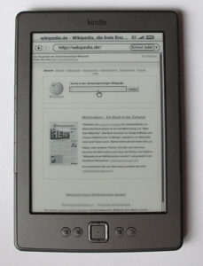 Amazon Kindle, displaying Wikipedia