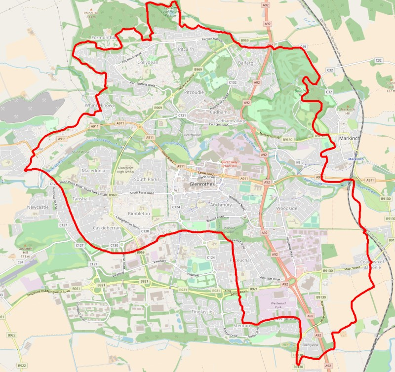Map of Glenrothes Cycle Route