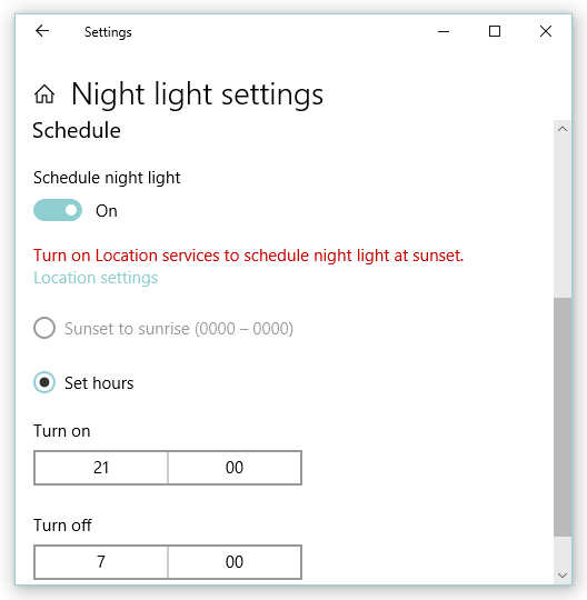 Scheduling options in windows 10