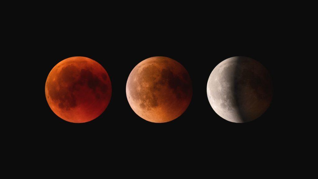 Lunar Eclipse Red, Orange, White