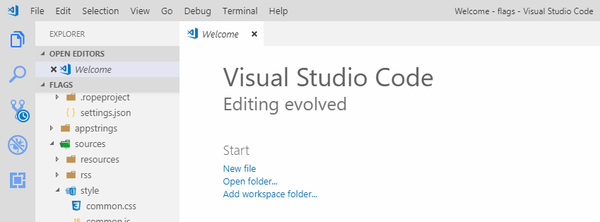 Visual Studio Code screenshot of welcome page