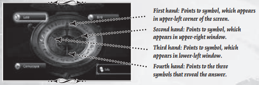 Game manual image showing how the alethiometer minigame is played