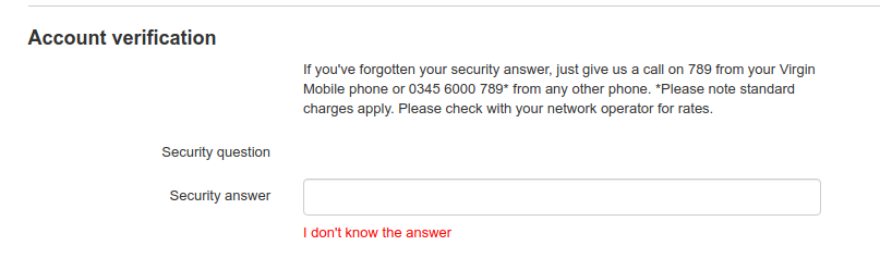 Screenshot of security question form without a security question