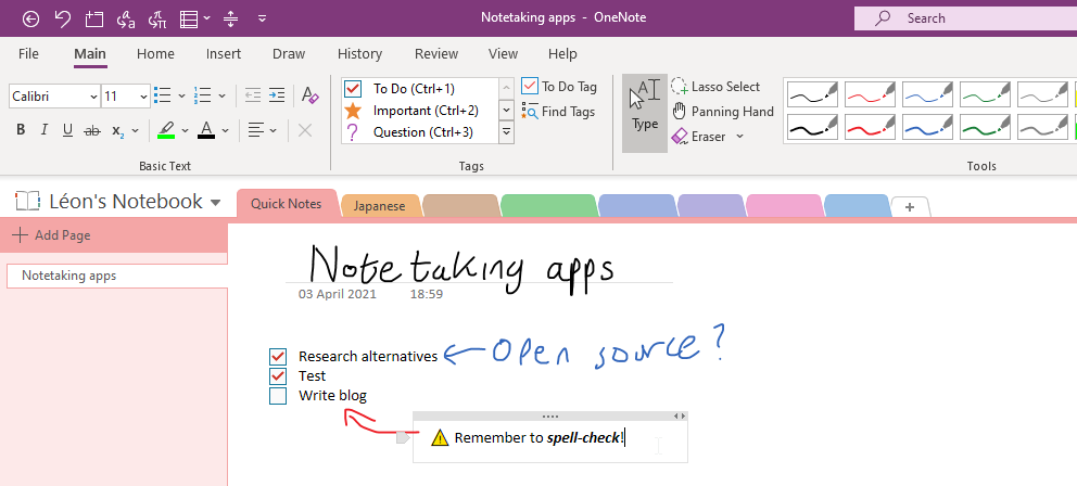A screenshot of OneNote showing off various features such as inking and tags